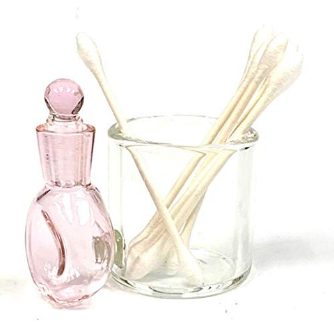 Pink Glass Cotton Swab Q-Tip Holder/Alcohol ISO Station 3.5