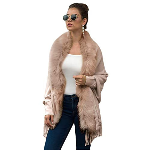 WUAI-Women Winter Faux Fur Knitted Cashmere Poncho Capes Shawl Cardigans Sweater CoatPink,One Size