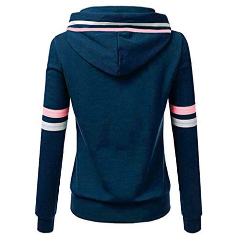 Xinantime Womens Casual Stripe Sweatshirt Long Sleeve Blouse Hooded Pocket Pullover Tops Shirt (Blue,XXL)
