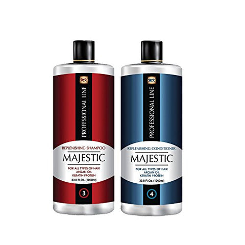Majestic Keratin Replenishing Shampoo + Conditioner 33.8oz(1000ml) with Argan Oil