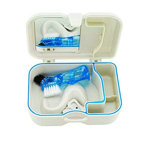 QT-dentist Denture Case Built-in Mirror with Brush False Teeth Storage Box