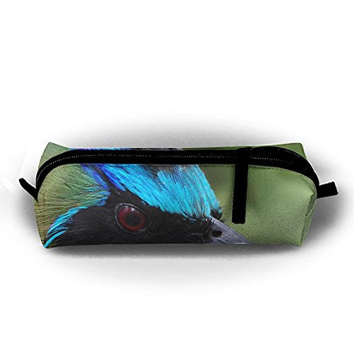 Nature Motmot Bird Head Pen Pencil Stationery Bag Makeup Case Travel Cosmetic Brush Accessories Toiletries Pouch Bags Zipper Resistance Carry Handle Power Lines Hanging Handbag Documents