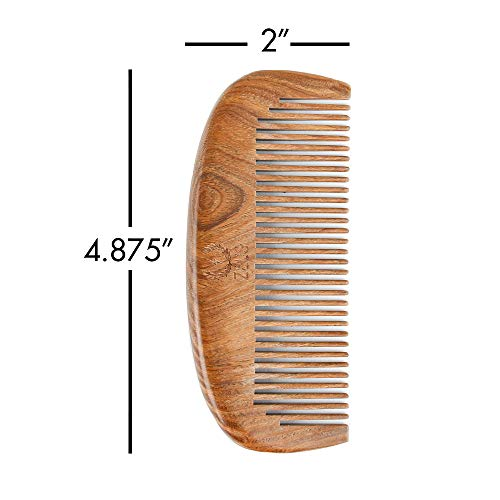 Zeus Organic Sandalwood Beard Comb + 100% Boar Handled Beard Brush Set!