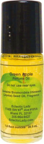 Green Apple Perfume Oil, Large - Organic Jojoba Oil, Roll On, 1 oz