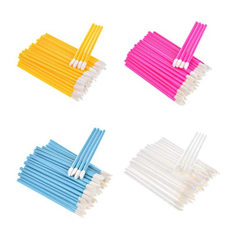 Minkissy 100pcs Disposable Lip Brush Stick Lipstick Applicator Lip Gloss Tester Wands Makeup Beauty Tool Kits