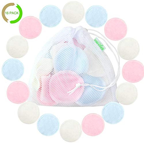 Cotton Rounds Reusable 16 Packs   Reusable Bamboo Makeup Remover Pads For Face   Reusable Facial Pad
