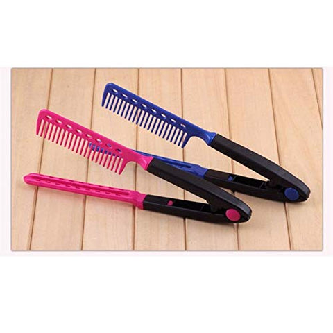 S2e1 V Shape Fold Hairbrush Hair Straightener Comb Salon Hairdresser Barber Hair Cut Comb Hair Brush Styling Tool (Red)