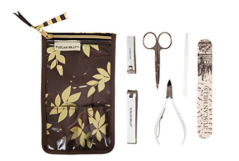 Tuscan Hills Piece Bath Set Fingernail & Toenail Clippers, Nail File Cuticle Clipper, Manicure Scissors, Cuticle Pusher, and Travel Case (Manicure & Pedicure Set)