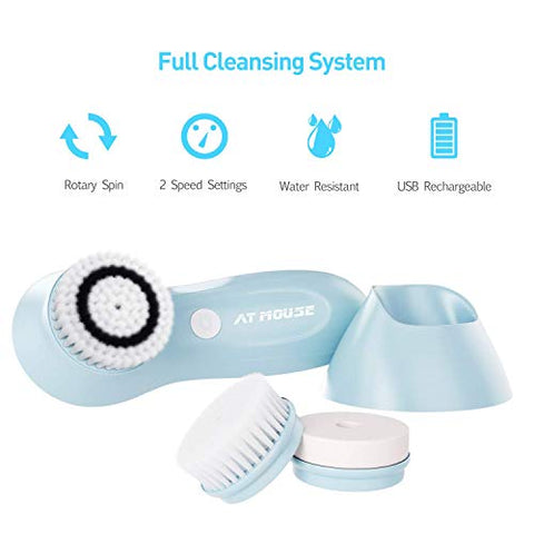 Upgrade Facial Cleansing Brush USB Rechargeable, Electric Face Cleanser Brush Waterproof - Spin Face Brush for Deep Cleansing, Gentle Exfoliating and Massaging, 3 Brush Heads with 2 Power Modes