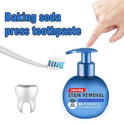 TOPBOOM Intensive Stain Removal Whitening Toothpaste Baking Soda Fight Bleeding Gums Power Cleaning Fluoride-Free Natural Press Toothpaste 220g Blueberry Flavor