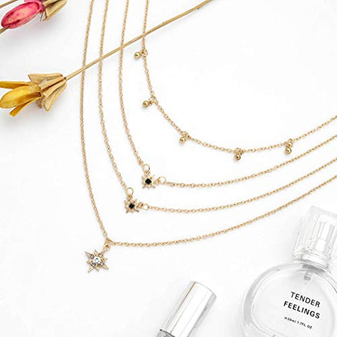 Jovono Gold Multilayed Beaded Star Pendant Necklaces Boho Fashion Necklace Chain Jewelry for Women and Girls