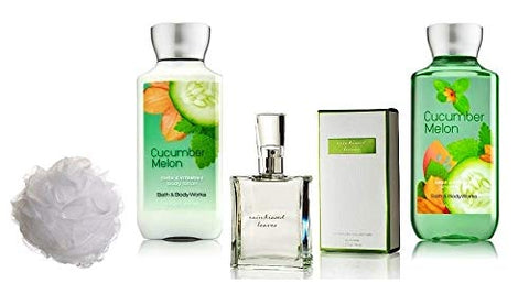 Bath and Body Works Cucumber Melon Gift Set Eau de Toilette ~ Body Lotion ~ Shower Gel & Shower Sponge - Signature Collection