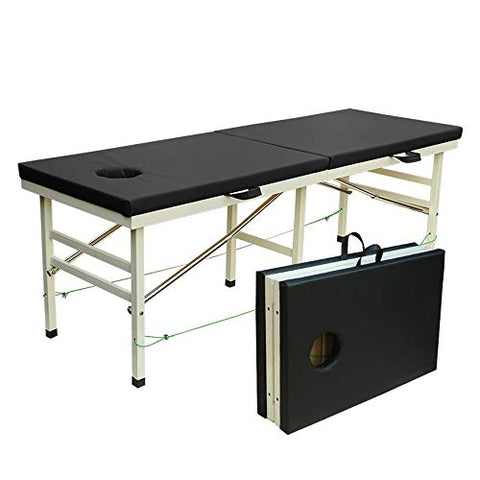LJHA Massage Bed, Beauty Treatment Bed, Folding Massage Bed, Diagnostic Bed with Reinforcement Connection Rod massage table (color : Black)