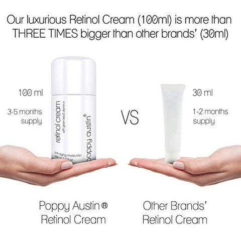 Retinol Cream For Day & Night By Poppy Austin   Cruelty Free & Organic, With 2.5% Retinol, Vitamin E