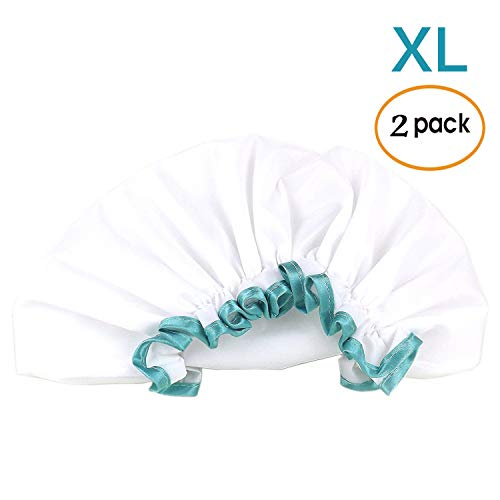 White Shower Cap for Long Hair 2 Pack, Waterproof Washable Hair Caps for Women and Girls, Super Cute and Extra Large by mikimini