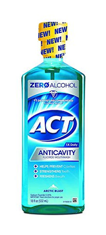 ACT Anticavity Fluoride Mouthwash, Zero Alcohol, Arctic Blast, 18 Ounces Each, Pack of 4
