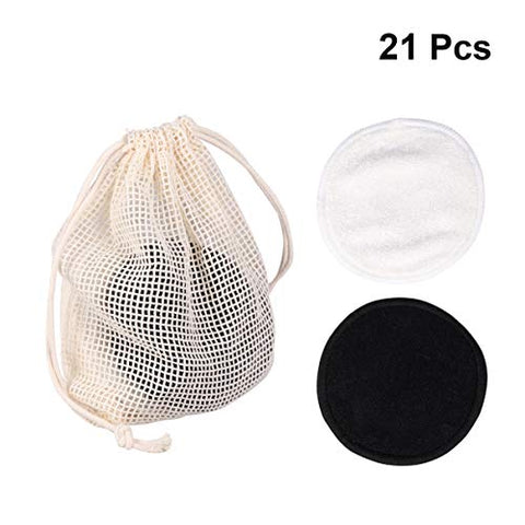 Minkissy 20Pcs Makeup Remover Puffs Double-Layer Makeup Cleaning Pads with Laundry Bag Face Cosmetic Removing Mat Cloth for Women