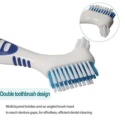 Denture Brush XUANOU 4Pc Denture Teeth Brush Easy Grip Handle Double Sided Toothbrushes