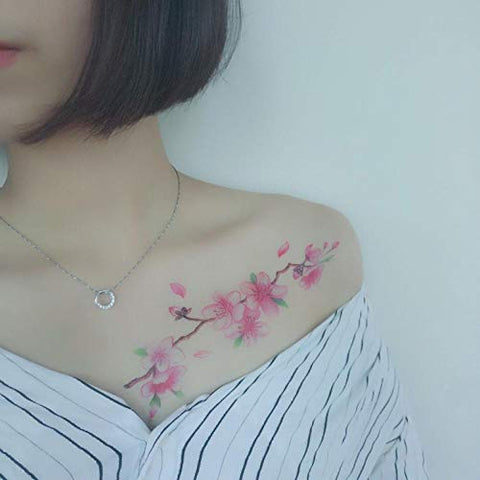 Kekemm Temporary Tattoos Tattoo Stickers Flower Waterproof Female Long-Lasting Rose Simulation Cherry Blossom Ancient Fresh Tattoo 10