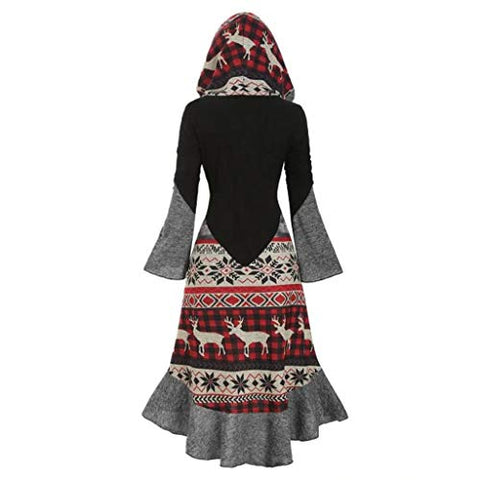 Christmas Dresses for Women Plus Size Flare Long Sleeve Vintage Elk Snowflower Hooded Knitted Party Dress Cloak Black