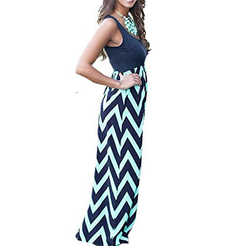 Xinantime Womens Casual Sleeveless Striped Long Boho Dress Lady Beach Summer Sundress Maxi Dress (Navy,L)