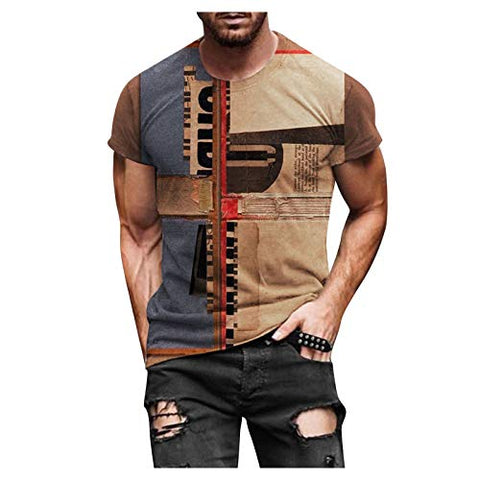 Summer Plus Size Shirts Tops for Men Spring Summer Casual Slim 3D Printed Short Sleeve T Shirt Top Blouse Khaki