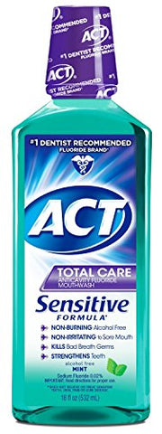 ACT Total Care Anticavity Fluoride Mouthwash, Sensitive Formula Mint, 18 Fluid Ounce (Pack of 24)