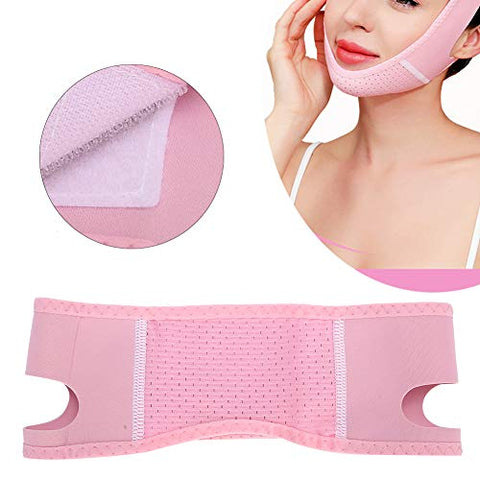 Elastic Face Slimming Belt, Adjustable Breathable Belt with Hook & Look for Face Tightening Lifting, V Line Shaping Bandage for Reduce Double Chin
