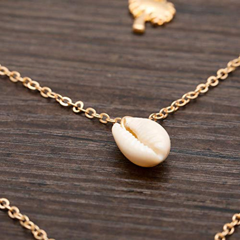 Jovono Multilayered Necklaces Shell Pendant Necklace Chain Jewelry for Women and Girls (Gold)