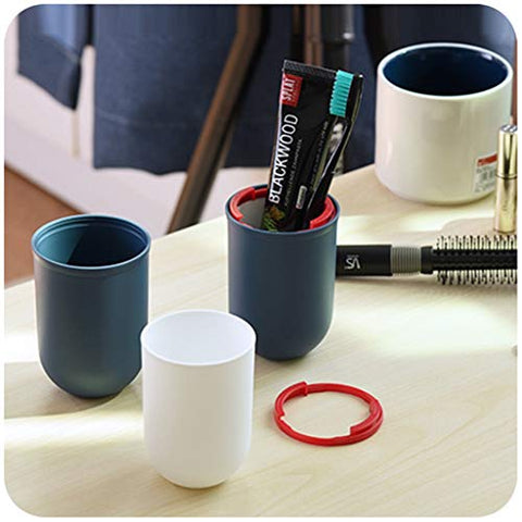 Travel Wash Cup Toothbrush Box Toothpaste Portable Multi-function Mug Cup Couple With Lid (Color : Red)