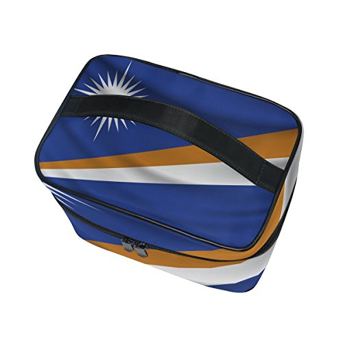 Marshall Islands Flag Portable Travel Makeup Cosmetic Bags Toiletry Organizer Multifunction Case