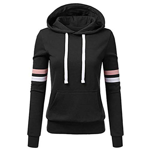 Xinantime Womens Casual Stripe Sweatshirt Long Sleeve Blouse Hooded Pocket Pullover Tops Shirt (Black,XXXL)