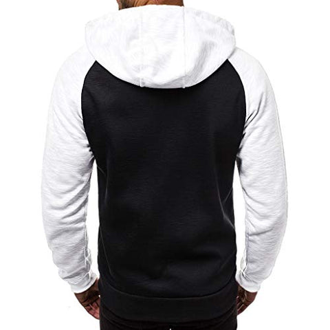 jin?Co Men's Hooded Sweatshirts Casual Patchwork Full Zip Drawstring Hoodies Sport Jacket Long Sleeve Tops White
