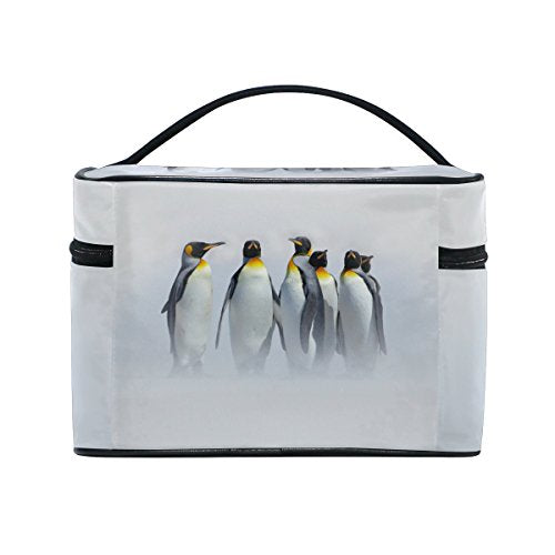 Cooper girl Penguins The Snow Cosmetic Bag Travel Makeup Train Cases Storage Organizer