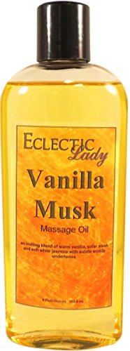 Vanilla Musk Massage Oil, 8 Oz, With Sweet Almond Oil And Organic Jojoba Oil, Preservative Free