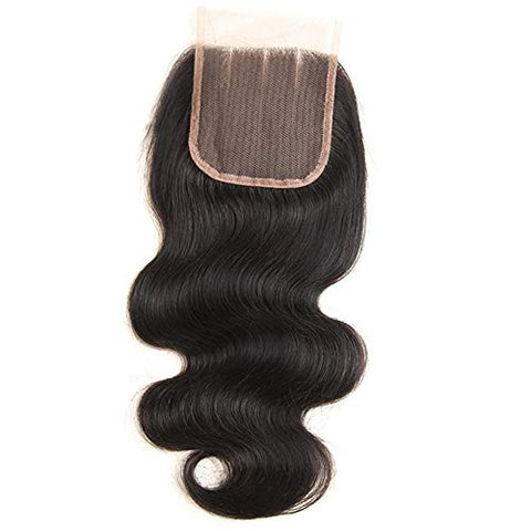 Hairpieces Fashian Body Wave with Closure Hair Bundles with 4x4 Free Part Closure Natural Black Human Hair Bundles with Lace Closure for Daily Use and Party (Color : Black, Size : 18 inch)