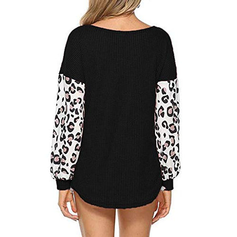 haoricu Women Leopard Print Long Sleeve Splicing Waffle Casual Tops Patchwork Pullovers Shirts for Women