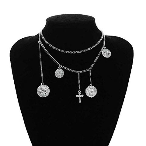 Jovono Multilayered Necklaces Cross Coin Pendant Necklace Chain Jewelry for Women and Girls (Silver)