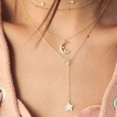 Jovono Boho Multilayered Star Pendant Necklaces Fashion Crystal Crescent Moon Necklace Chain Jewelry for Women and Girls (Gold)