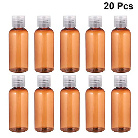 PIXNOR 20pcs 60ml Empty Plastic Bottle, Clear Travel Bottles with Flip Cap Subpackaging Bottles Lotion Container for Travel Women (Brown)