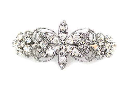 Faship Gorgeous Clear Rhinestone Crystal Flora Hair Barrette Clip   Clear