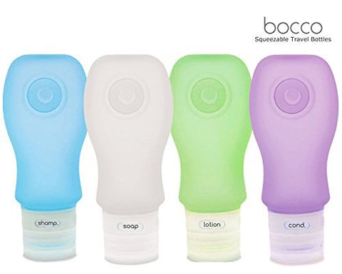 Bocco Leak Proof Squeezable Travel Bottles, TSA Approved Travel Accessories for Carry On Luggage - Perfect for Liquid Toiletries - 4 Pack (All Large 3 oz Bottles) (Blue/Purple/Clear/Green)