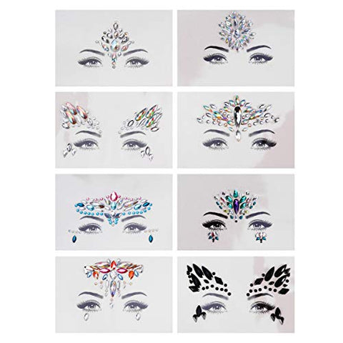 Beaupretty Rhinestone Face Stickers Mermaid Face Gems Crystals Face Stickers Face Jewels Tattoo for Performance Festival Dance 8Pcs
