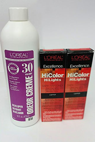 L'oreal Hicolor Hi Lights For Dark Hair Only Copper Red 2 Pack With 16 Oz. Oreor Crã¨Me 30 Developer