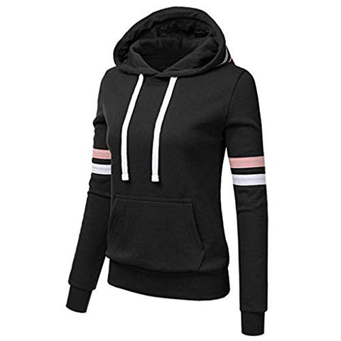 Xinantime Womens Casual Stripe Sweatshirt Long Sleeve Blouse Hooded Pocket Pullover Tops Shirt (Black,XXXXL)
