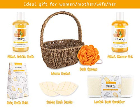 Mother's Bath Spa Basket, Bath Set for Women & Men, Includes Shower Gel, Bubble Bath, Bath Salt, Bath Sponge, Perfect Gift Box for Mother's Day, Birthday, Wedding, Honey & Almond 8pcs