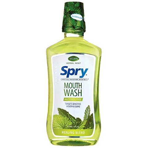 Spry Alcohol-Free Xylitol Mouthwash, Natural Herbal Mint, Healing Blend - 16 fl oz (3 Pack)