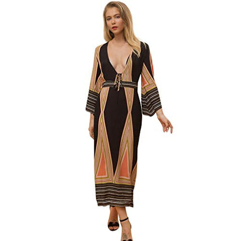 KASAAS Sexy Deep V Neck Bohemia Dress for Women Bell Slleve Bow Tie Print Long Vintage Dresses(Small,Multicolor)