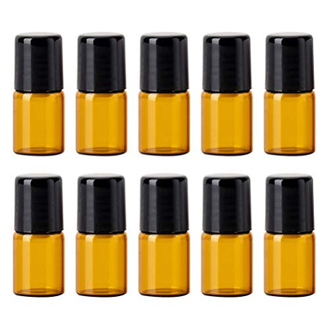 Milisten 12pcs Amber Roller Bottles Empty Mini Aromatherapy Perfume Essential Oil Roll On Bottle Container Vials Jars Tube 1ml