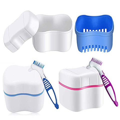 2 Pcs Denture Bath Case with Denture Cleaner Brush Denture Toothbrush and Strainer Basket for Travel Cleaning Overnight Soaking, Complete Cleaning Care, Home Use( Blue, Pink)